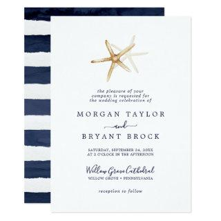 Modern Nautical | Starfish Formal Wedding Invitations
