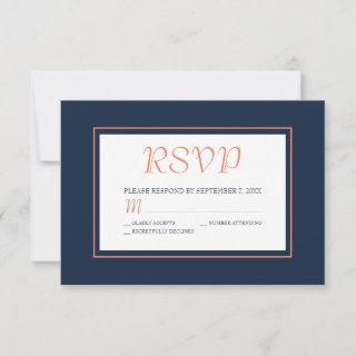 Modern Navy Blue and Coral RSVP Card