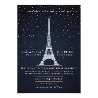 Modern Navy Blue & Copper Paris Night Sky Wedding Invitation