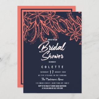 Modern navy blue coral summer floral Bridal Shower Invitation
