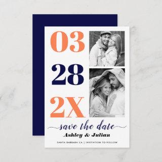 Modern navy blue, coral typography two photo save the date