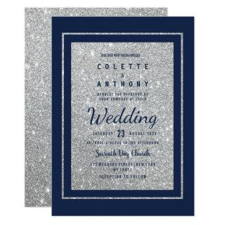 Modern navy blue faux silver glitter Wedding Invitations
