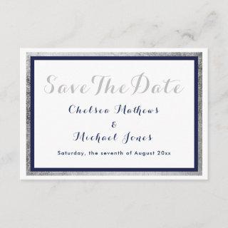 Modern navy blue faux silver white Save The Date