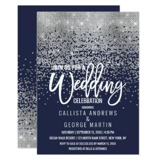 Modern Navy Blue Silver Glitter Confetti Wedding Invitation