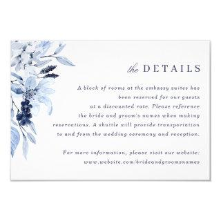 Modern Navy Blue Watercolor Floral Insert Details Invitation