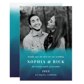 Modern Ocean Blue Typography Save the Date Photo Invitation