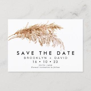 Modern Pampas Grass Wedding Save The Date Card