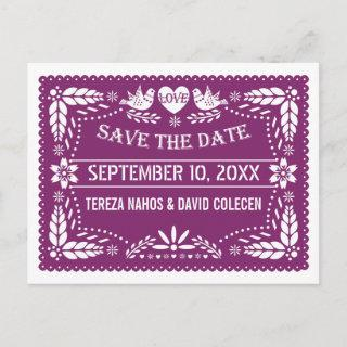 Modern Papel picado purple wedding Save the Date Announcement Postcard