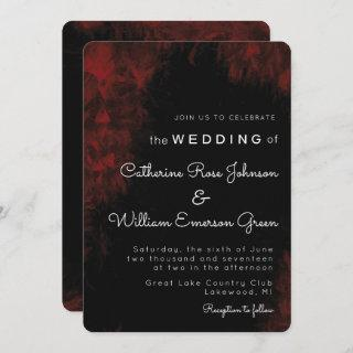 Modern Passionate Red 'n Black Wedding Invitations