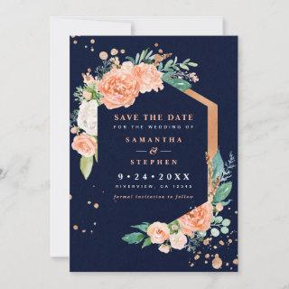Modern Peach, Navy, Copper Floral Watercolor Photo Save The Date