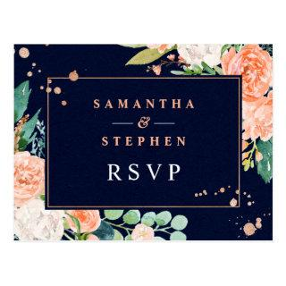 Modern Peach, Navy & Copper Floral Wedding RSVP Postcard