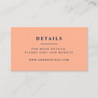 Modern Peach, Navy & Copper Floral Wedding Website Enclosure Card