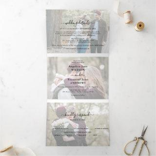 Modern Photo Collage Overlay 3 in 1 Wedding Tri-Fold Invitations