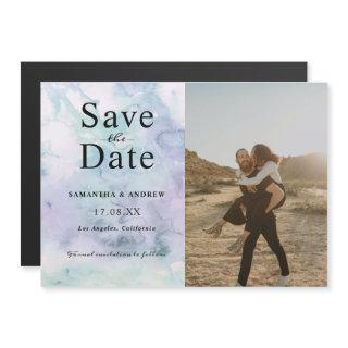 Modern photo purple watercolor save the date magnetic