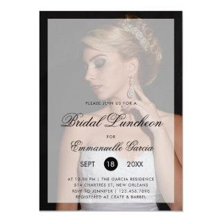 Modern Photo with Chic Script Bridal Luncheon Invitations