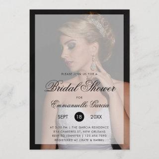 Modern Photo with Chic Script Bridal Shower Invitations