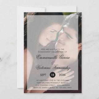 Modern Photo with Chic Script Engagement Party Invitation