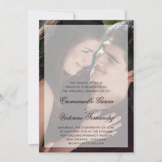 Modern Photo with Chic Script Names Wedding Invitation