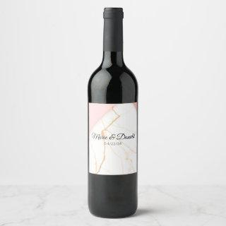 Modern Pink and Gold Glitter Marble Wine Label