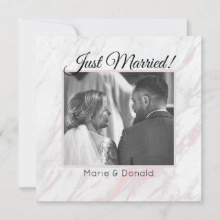 Modern Pink and Grey Marble Just Married Holiday Card