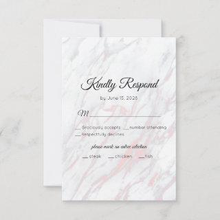 Modern Pink and Grey Marble RSVP Card