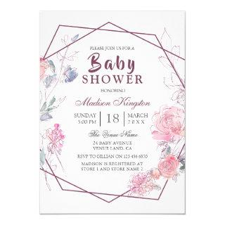 Modern Pink Floral Geometric Baby Shower Invitation