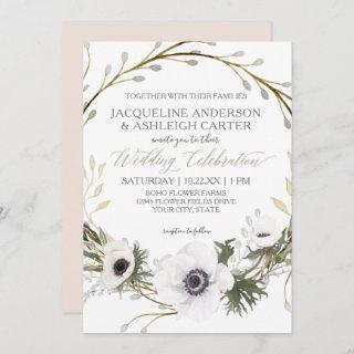 Modern Pink n White Twig Eucalyptus Wreath Wedding Invitations