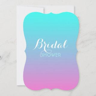 modern pink turquoise ombre wedding bridal shower Invitations