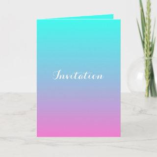 modern pink turquoise ombre wedding invitation