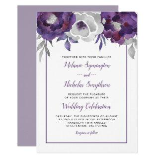 Modern Purple Gray Floral wedding invitations