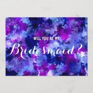 Modern purple watercolor Will you be my Bridesmaid