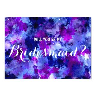 Modern purple watercolor Will you be my Bridesmaid Invitations