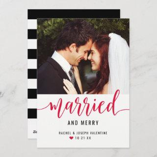 Modern Red Married and Merry Newlyweds Photo Holiday Card