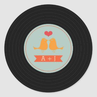 Modern Retro Vinyl Record Love Birds Sky Blue Classic Round Sticker