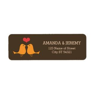 Modern Retro Vinyl Record Love Birds Wedding Label