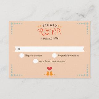 Modern Retro Vinyl Record Orange Sky Blue RSVP