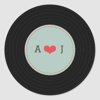 Modern Retro Vinyl Record Wedding Blue Envelope Classic Round Sticker