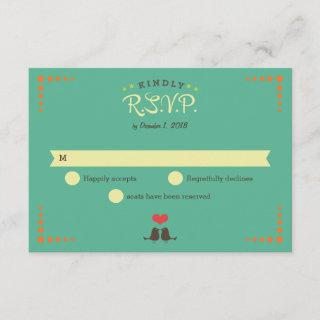 Modern Retro Vinyl Record Wedding RSVP Card