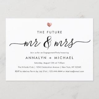 Modern Rose Future Mr and Mrs Engagement Party Invitations