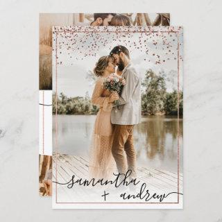 Modern rose gold frame script 5 photos wedding invitation