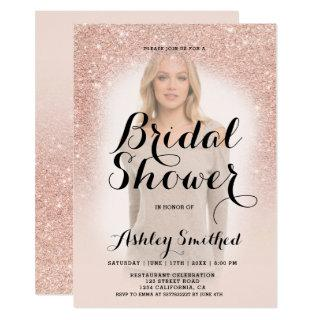 Modern rose gold glitter ombre photo bridal shower Invitations