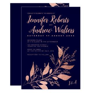 Modern rose gold navy blue branch script wedding Invitations