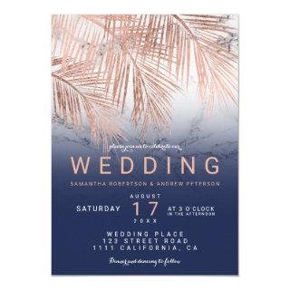 Modern rose gold palm tree navy marble wedding Invitations