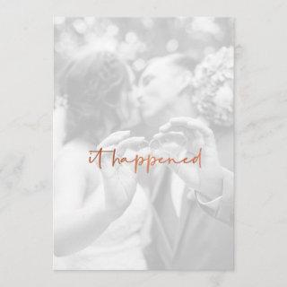 Modern Rose Gold Photo Just Married Reception Invitation