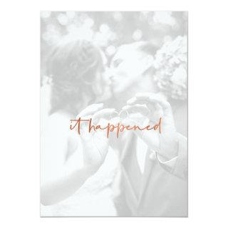 Modern Rose Gold Photo Just Married Reception Invitations