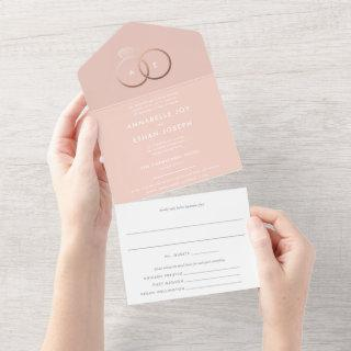Modern Rose Gold Rings Blush Wedding All In One In All In One Invitation