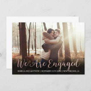 Modern Rose Gold We Are Engaged Party Pic