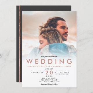 Modern rose gold white ombre simple photo wedding Invitations