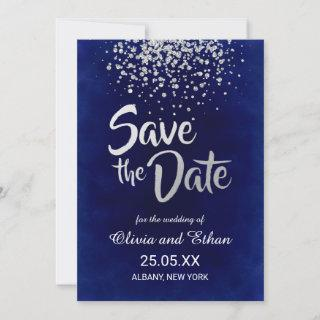 Modern Royal Blue and Silver Confetti Save The Date