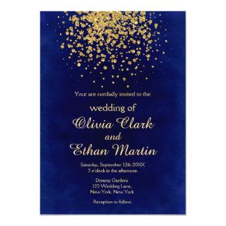 Modern Royal Blue with Gold Confetti Invitation